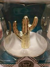 Buy New in Box Modern Expressions Gold & White Ceramic Cactus Ring & Jewelry Holder