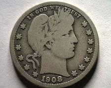 Buy 1908 BARBER QUARTER DOLLAR VERY GOOD+ VG+ NICE ORIGINAL COIN BOBS COIN FAST SHIP