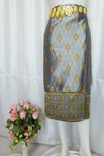 Buy Gray Gold Lao Laos Tradition Silk Sinh Skirt Clothing Costume Size 10-16