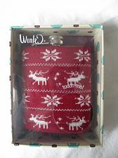 Buy G91w Liquor 7oz Hip Pocket Flask Knit Sweater Cover Reindeer Snowflakes Red