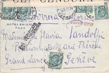 Buy 1916 WW I Ferrovia Italy Censored Cover to Geneva Switzerland