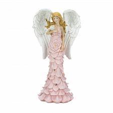 Buy *18518U - Solar Powered Pink Rose Angel Statue