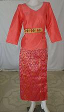 Buy Salmon Lao Laos Synthetic Silk 3/4 Sleeve Blouse Long Sinh Skirt Outfit Size L