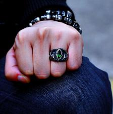 Buy Elvis Presley TCB NY GP Concert Jumpsuit Stage Mens Snake Ring Emerald Simulated