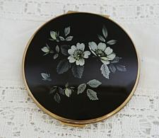 Buy Vintage Stratton Brass Compact Black Top with White & Grey Flowers c1960-1970