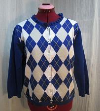 "Buy Jessica Womens Cotton Argyle Cardigan Royal Blue Grey White Size L 36"" bust S155"