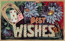 Buy Best Wishes Colorful Flowers Horseshole, Cards Embossed Vintage Postcard