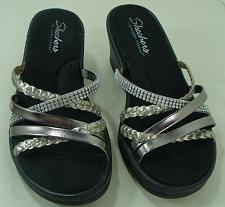Buy Women's Skechers Memory Foam Wedge Sandals Size 9 Black With Silver Bling Straps