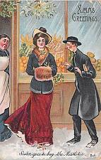 Buy Xmas Greetings, Sister Goes So Buy the Mistletoe Humor Vintage Postcard