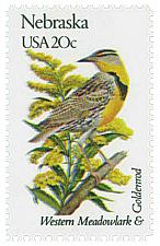 Buy 1982 20c State Birds & Flowers, Nebraska, Western Meadowlark Scott 1979 Mint NH