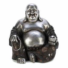 Buy 14581U - Happy Sitting Buddha Statue Silver & Black Polyresin Figurine