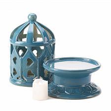 Buy *15448U - Blue Ceramic Dome LED Flameless Candle Lantern