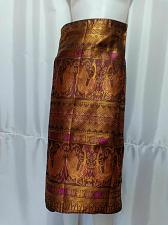 """Buy Brown Gold Lao Laos Synthetic Silk Sinh Skirt for sale Waist can fit to 40"""""""