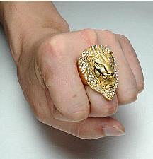 Buy Elvis Presley TCB Concert Lion Head LAB Crystal Gold Plated Size 8-12 Men Ring