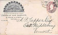 Buy U59 Used Circa 1868 Emerson Saws Ad Corner, New York to Vermont, Fancy Cancel