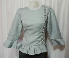 Buy Gray Lao Laos 3/4 SLeeve India silk Blouse Tops Clothing size M