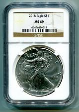 Buy 2018 AMERICAN SILVER EAGLE NGC MS69 CLASSIC BROWN LABEL AS SHOWN PREMIUM QUALITY