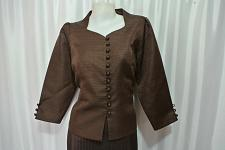 Buy Brown Lao Laos Long Sleeve India Silk Blouse Square Neck Tops size L