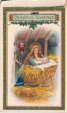 Buy Christmas Greetings Manger Jesus Photo Glossy Embossed Vintage Postcard
