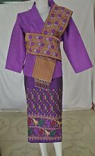 Buy Purple Lao Laos Synthetic Silk 3/4 Sleeve Wrap Blouse Sinh Skirt Outfit Size 2XL