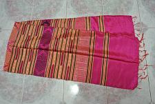 Buy Laotian Jok Fabric Thai Lao Laos woven weaving Textile Scarf Shawl Pink SC3