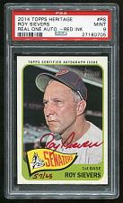 Buy 2014 TOPPS HERITAGE REAL ONE RED AUTO ROY SIEVERS PSA 9 MINT (27180705)