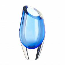 Buy *17384U - Blue Slant Cut Glass Art Vase