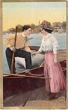 Buy Gold , Couple Getting in Canoe Romance Used 1910, Johnsville, CA DPO Postcard