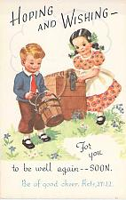 Buy Young Children Wishing Well, Religous Vintage Unused Postcard
