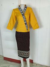 Buy Gold Lao Laos 3/4 Sleeve Blouse size 12 Cotton Sinh Skirt L For Laos New Year