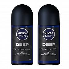 Buy Nivea Men Deep Dry and Clean Deodorant Antiperspirant Roll On 50ml Pack of 2