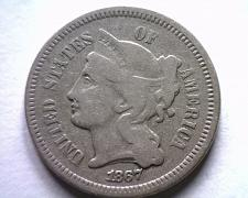 Buy 1867 THREE CENT NICKEL FINE F NICE ORIGINAL COIN FROM BOBS COINS FAST SHIPMENT