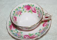 Buy Vintage Tuscan Teacup & Saucer Pink Teacup Pink Roses and Flower Border VGC