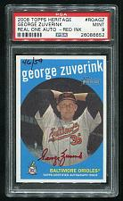 Buy 2008 TOPPS HERITAGE REAL ONE RED AUTO GEORGE ZUVERINK PSA 9 MINT (26086652)
