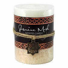 Buy :10928U - Jasmine Musk Moroccan Scented Pillar Candle 3X4 Palm Wax 60 Hr