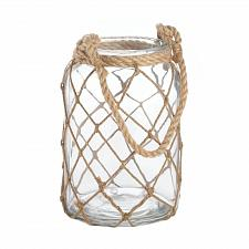 "Buy *17038U - Large 9.5"" Glass Jar Fish Net Pillar Candle Holder Lantern"