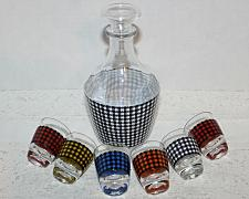 Buy Vintage Glass Liquor Decanter Set with 6 Matching Shot Glasses Made in France