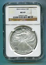 Buy 2010 AMERICAN SILVER EAGLE NGC MS 69 BROWN LABEL PREMIUM QUALITY MS69 PQ