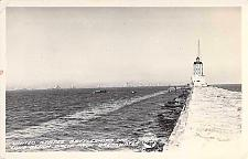 Buy US Navy Battleships Off Long Beach From Breakwater RPPC Vintage Postcard