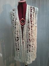 Buy Crochet Vest Long Boho Hippy Vintage Cotton Cream White Size Small V94