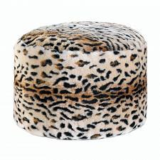 Buy *18051U - Fuzzy Pouf Snow Leopard Print Foot Stool
