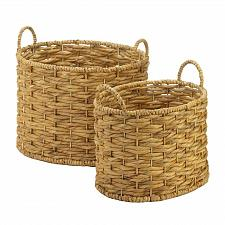 Buy *18729U - Natural Beige Water Hyacinth Oval Baskets Handled 2pc Set