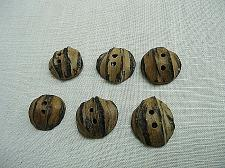 Buy Vintage Genuine Walnut Half Shell Buttons Set of 6 Two Hole 1 inch Diameter
