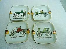 Buy 4 ESD JAPAN Porcelain Mini Nesting Stacking Ashtrays Antique Cars Automobiles