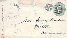 Buy Circa 1882 Philadelphia & Baltimore R.R. Postmark with Fancy Cancel on 3c PSE