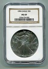 Buy 1994 AMERICAN SILVER EAGLE NGC MS69 BROWN LABEL PREMIUM QUALITY NICE COIN PQ