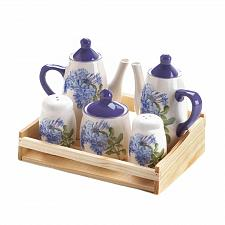 Buy *17652U - Dolomite Blue Floral S&P Creamer Sugar Miniature Tea Set