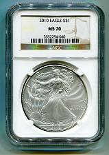 Buy 2010 AMERICAN SILVER EAGLE NGC MS70 BROWN LABEL MS 70 NICE COIN AND SLAB