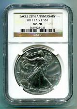 Buy 2011 AMERICAN SILVER EAGLE NGC MS70 BROWN LABEL PREMIUM QUALITY COIN PQ