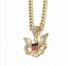 Buy Elvis Presley Concert TCB Jumpsuit Bald Eagle badge Army Chain Necklace Pendant